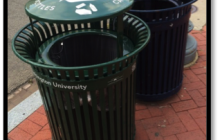 Outdoor sidewalk/public space trash and recycle bins