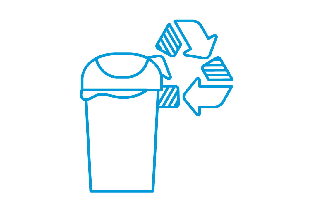 Illustration of recycling and garbage container